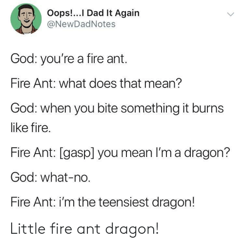 Dad, Fire, and God: Oops!.. I Dad It Again  @NewDadNotes  God: you're a fire ant.  Fire Ant: what does that mean?  God: when you bite something it burns  like fire.  Fire Ant: [gasp] you mean I'm a dragon?  God: what-no  Fire Ant: i'm the teensiest dragon! Little fire ant dragon!