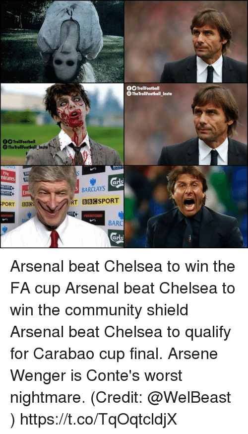 Arsenal, Chelsea, and Community: OOTrollFootball  TheTrollfootball_Insta  O Trollfooballt  TheTrollFootballInstat+  -  Ely  nirates  ar  BARCLAYS  LAYS  PORT B8CS  RT  BBC  LAYS  #MAKEITCOUNT  BARC  ar Arsenal beat Chelsea to win the FA cup Arsenal beat Chelsea to win the community shield Arsenal beat Chelsea to qualify for Carabao cup final.  Arsene Wenger is Conte's worst nightmare.  (Credit: @WelBeast ) https://t.co/TqOqtcldjX