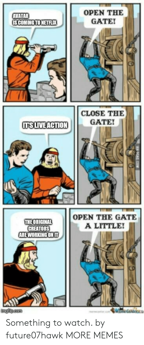 Dank, Memes, and Target: OPEN THE  GATE!  AVATAR  CLOSE THE  GATE!  ITS LIVE ACTION  THE ORIGINAL  CREATORS  ARE WORKING ONIT  OPEN THE GATE  A LITTLE  imgflip.com Something to watch. by future07hawk MORE MEMES