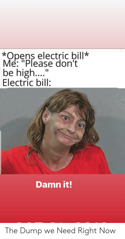 """Bill, Now, and Right Now: *Opens electric bill*  Me: """"Please don't  be high....  Electric bill:  Damn it! The Dump we Need Right Now"""
