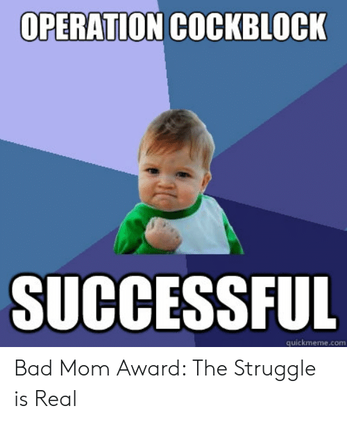 Bad, Struggle, and The Struggle Is Real: OPERATION COCKBLOCK  SUCCESSFUL  quickmeme.com Bad Mom Award: The Struggle is Real