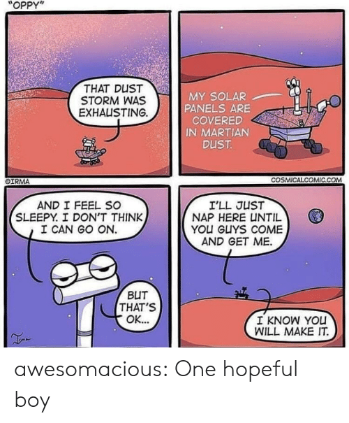 """Tumblr, Blog, and Http: """"OPPY""""  THAT DUST  STORM WAS  EXHAUSTING.  MY SOLAR  PANELS ARE  COVERED  IN MARTIAN  OIRMA  COSMİCALCOMIC.COM  AND I FEEL SC  SLEEPY. I DON'T THINK  I CAN GO ON.  I'LL JUST  NAP HERE UNTIL  YOU GUYS COME  AND GET ME.  BUT  THAT'S  I KNOW YOu  WILL MAKE IT awesomacious:  One hopeful boy"""