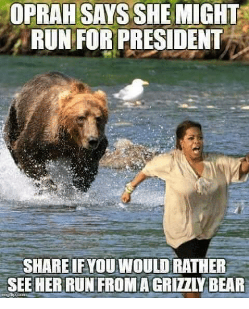 Oprah Winfrey, Run, and Her: OPRAH SAYS SHE MIGHT  RUNFOR PRESIDENT  SHARE IFYOU WOULD RATHER  SEE HER RUN FROM A GRIZZLY BAR