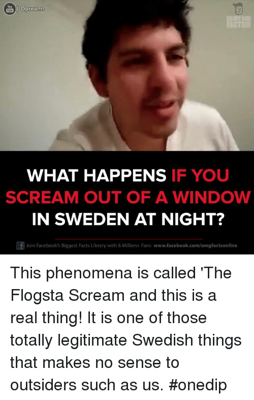 Dank, Scream, and Windows: Opreann  WHAT HAPPENS  IF YOU  SCREAM OUT OF A WINDOW  IN SWEDEN AT NIGHT?  Of Join Facebook's Biggest Facts Library with 6 Million+Fans- www.facebook.com/omgfactsonline This phenomena is called 'The Flogsta Scream and this is a real thing! It is one of those totally legitimate Swedish things that makes no sense to outsiders such as us. #onedip