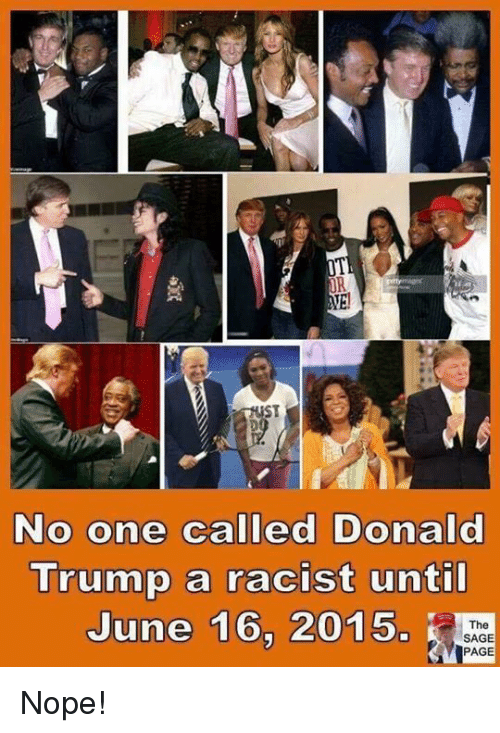 Donald Trump, Memes, and Sage: OR  ST  No one called Donald  Trump a racist unti  June 16, 2015.  The  SAGE  PAGE Nope!