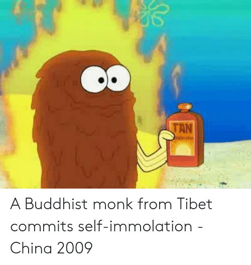 China, Tibet, and Monk: OR  TAN A Buddhist monk from Tibet commits self-immolation - China 2009