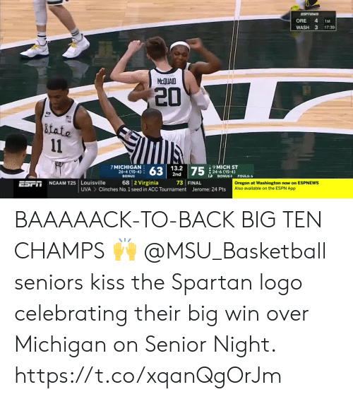 Basketball, Espn, and Memes: ORE 4 1st  WASH 3 17:39  McQUAID  20  Lo  tate  7 MICHIGAN  26-4 (15-4)  BONUS  63  13.2  2nd  9MICH ST  : 24-6 (15-4)  BONUS  P  FOULS: 6  68 2 Virginia 73 FINAL  Clinches No. 1 seed in ACC Tournament Jerome: 24 Pts  ESFIT NCAAM T25 Louisville  Oregon at Washington now on ESPNEWS  Also available on the ESPN App  UVA BAAAAACK-TO-BACK BIG TEN CHAMPS 🙌  @MSU_Basketball seniors kiss the Spartan logo celebrating their big win over Michigan on Senior Night. https://t.co/xqanQgOrJm