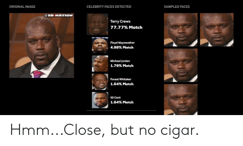 50 Cent, Floyd Mayweather, and Forest Whitaker: ORIGINAL IMAGE  CELEBRITY FACES DETECTED  SAMPLED FACES  @SB NATION  Terry Crews  77.77% Match  Floyd Mayweather  498% Match  -  Michael Jordan  1.79% Match  Forest Whitaker  1.64% Match  50 Cent  1.64% Match Hmm...Close, but no cigar.