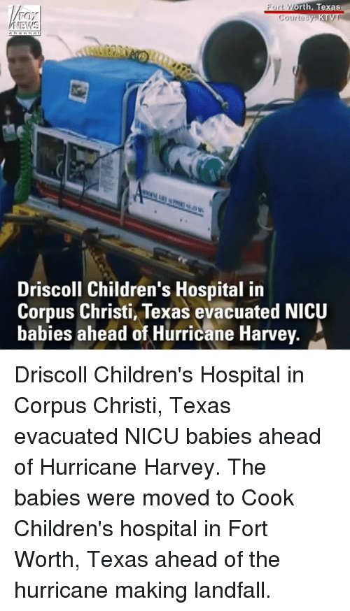 Memes, Children's Hospital, and Hospital: orth, Texas  ourtesy  Driscoll Children's Hospital in  Corpus Christi, Texas evacuated NICU  babies ahead of Hurricane Harvey Driscoll Children's Hospital in Corpus Christi, Texas evacuated NICU babies ahead of Hurricane Harvey. The babies were moved to Cook Children's hospital in Fort Worth, Texas ahead of the hurricane making landfall.