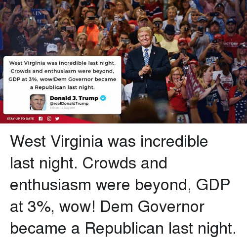 Wow, Date, and Trump: ORY  West Virginia was incredible last night.  Crowds and enthusiasm were beyond,  GDP at 3%, wow!Dem Governor became  a Republican last night  Donald 3. Trump  @realDonaldTrump  35 AM-Aug 201  STAY UP TO DATE West Virginia was incredible last night. Crowds and enthusiasm were beyond, GDP at 3%, wow! Dem Governor became a Republican last night.