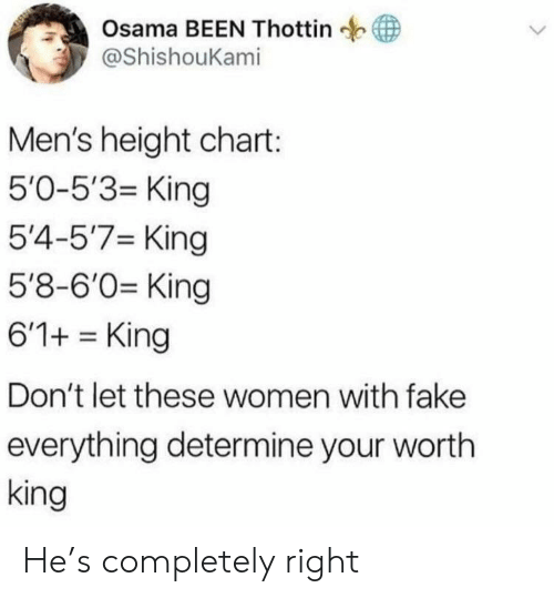 Fake, Women, and Been: Osama BEEN Thottin  у @ShishouKam.  Men's height chart:  5'0-5'3- King  5'4-5'7 King  5'8-6'0 King  6'1+King  Don't let these women with fake  everything determine your wortlh  king He's completely right