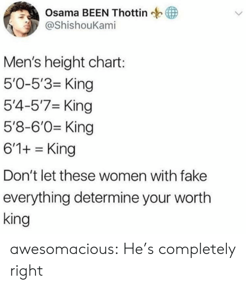 Fake, Tumblr, and Blog: Osama BEEN Thottin  у @ShishouKam.  Men's height chart:  5'0-5'3- King  5'4-5'7 King  5'8-6'0 King  6'1+King  Don't let these women with fake  everything determine your wortlh  king awesomacious:  He's completely right