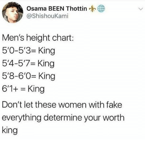 Fake, Women, and Been: Osama BEEN Thottin  @ShishouKami  Men's height chart:  5'0-5'3 King  5'4-5'7 King  5'8-6'0 King  6'1+ King  Don't let these women with fake  everything determine your worth  king