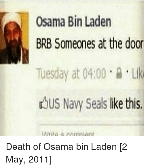 Osama Bin Laden, Death, and Navy: Osama Bin Laden  BRB Someones at the door  Tuesday at 04.00Li  dbus Navy Seals lke this Death of Osama bin Laden [2 May, 2011]