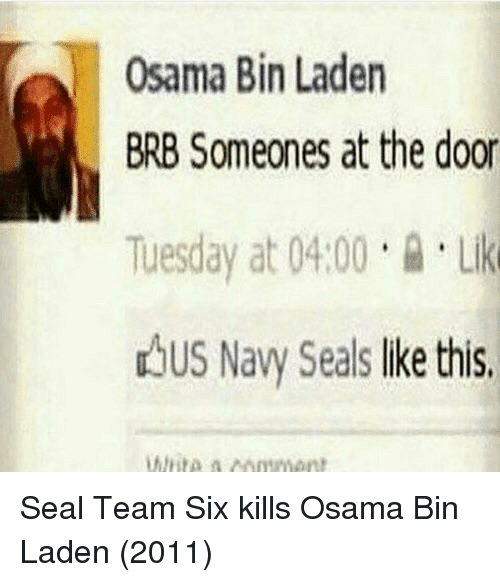 Osama Bin Laden, Navy, and Seal: Osama Bin Laden  BRB Someones at the door  Tuesday at 04.00Li  dbus Navy Seals lke this Seal Team Six kills Osama Bin Laden (2011)
