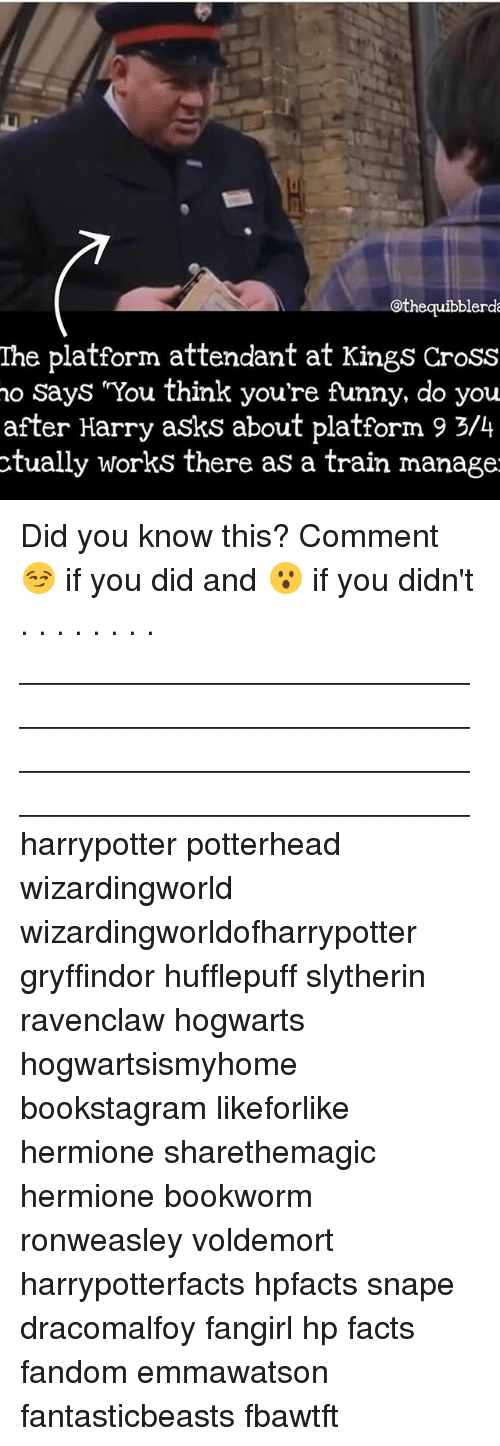 Facts, Funny, and Gryffindor: othequibblerd  The platform attendant at Kings Cross  no Says You think you're funny, do you  after Harry asks about platform 9 3/4  ctually works there as a train manage Did you know this? Comment 😏 if you did and 😮 if you didn't . . . . . . . . __________________________________________________ __________________________________________________ harrypotter potterhead wizardingworld wizardingworldofharrypotter gryffindor hufflepuff slytherin ravenclaw hogwarts hogwartsismyhome bookstagram likeforlike hermione sharethemagic hermione bookworm ronweasley voldemort harrypotterfacts hpfacts snape dracomalfoy fangirl hp facts fandom emmawatson fantasticbeasts fbawtft
