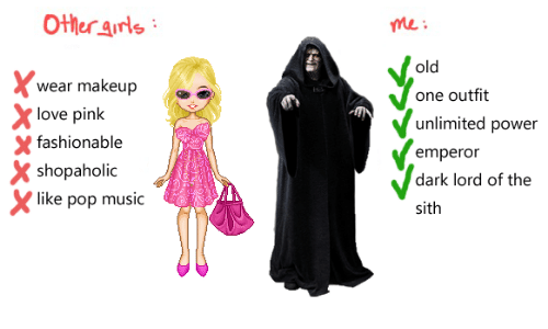 Sithe: Other arls  me:  old  wear makeup  love pink  shopaholic  one outfit  unlimited power  emperor  dark lord of the  sith  X fashionable  like pop music