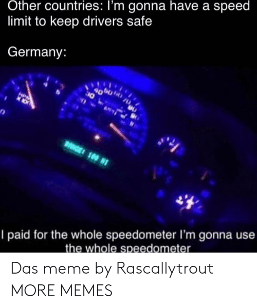 drivers: Other countries: I'm gonna have a speed  limit to keep drivers safe  Germany:  4000  10  HPA  RGE 100 N  I paid for the whole speedometer I'm gonna use  the whole speedometer Das meme by Rascallytrout MORE MEMES