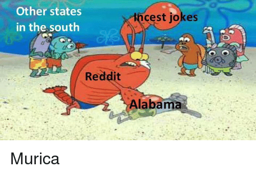 Reddit, Alabama, and Jokes: Other states  in the south  incest jokes  Reddit  Alabama Murica