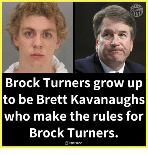 Memes, Brock, and 🤖: Other98  Brock Turners grow up  to be Brett Kavanaughs  who make the rules for  Brock Turners.  @emrazz
