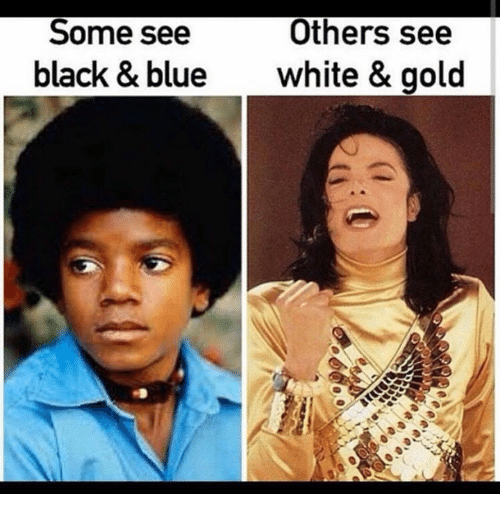 Dank, 🤖, and Gold: Others see  Some see  black & blue  white & gold
