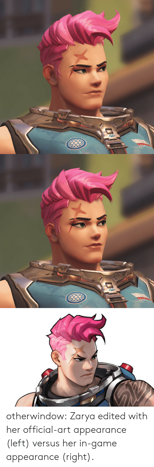 Tumblr, Blog, and Game: otherwindow:  Zarya edited with her official-art appearance (left) versus her in-game appearance (right).