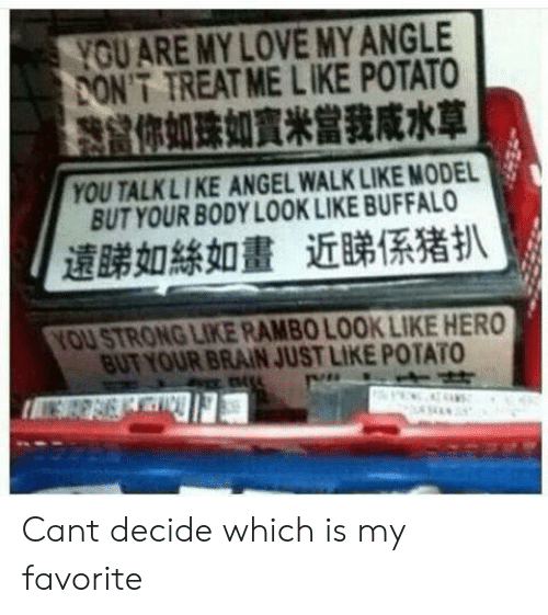 Love, Rambo, and Angel: OU ARE MY LOVE MYANGLE  ONT TREAT ME LIKE POTATO  你如珠如寶米當我咸水草  YOU TALKLIKE ANGEL WALK LIKE MODEL  BUT YOUR BODY LOOK LIKE BUFFALO  遠睇如絲如畫近睇係猪扒  OU STRONG LIKE RAMBO LOOK LIKE HERO  BUT YOUR BRAIN JUST LIKE POTATO Cant decide which is my favorite