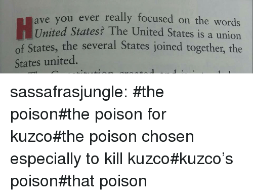Target, Tumblr, and Blog: ou ever really focused on the words  United States? The United States is a union  of States, the several States joined together, the  ave y  States united. sassafrasjungle:  #the poison#the poison for kuzco#the poison chosen especially to kill kuzco#kuzco's poison#that poison