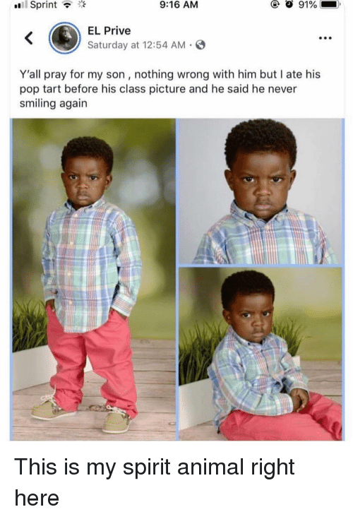 Funny, Pop, and Animal: oull  Sprint  9:16 AM  EL Prive  Saturday at 12:54 AM  Y'all pray for my son, nothing wrong with him but I ate his  pop tart before his class picture and he said he never  smiling again This is my spirit animal right here