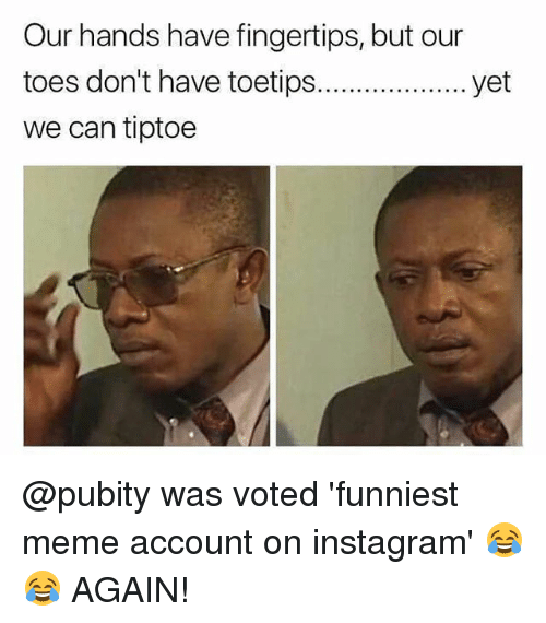 Funniest Meme Instagram Accounts 2018 : Our hands have fingertips but toes don t toetip