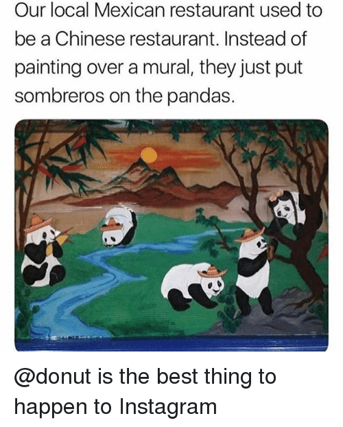 Instagram, Best, and Chinese: Our local Mexican restaurant used to  be a Chinese restaurant. Instead of  painting over a mural, they just put  sombreros on the pandas. @donut is the best thing to happen to Instagram
