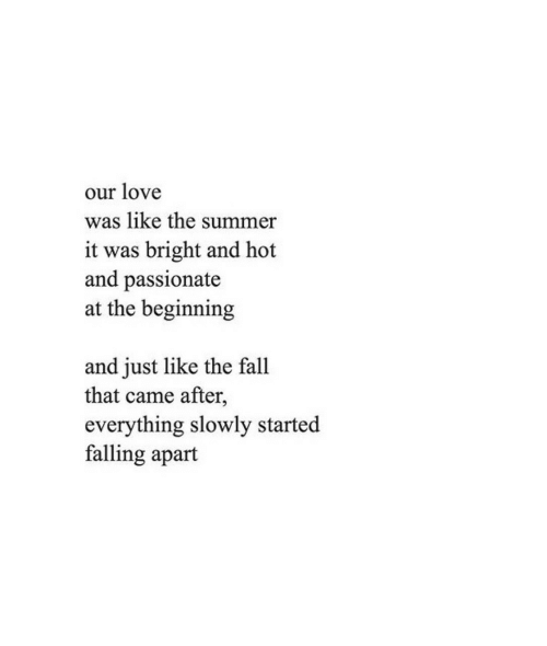 Fall, Love, and Summer: our love  was like the summer  it was bright and hot  and passionate  at the beginning  and just like the fall  that came after,  everything slowly started  falling apart