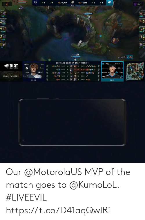 Goes: Our @MotorolaUS MVP of the match goes to @KumoLoL.  #LIVEEVIL https://t.co/D41aqQwlRi