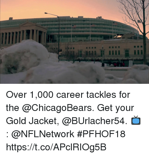 Memes, 🤖, and Gold: Over 1,000 career tackles for the @ChicagoBears. Get your Gold Jacket, @BUrlacher54.  📺: @NFLNetwork #PFHOF18 https://t.co/APclRIOg5B