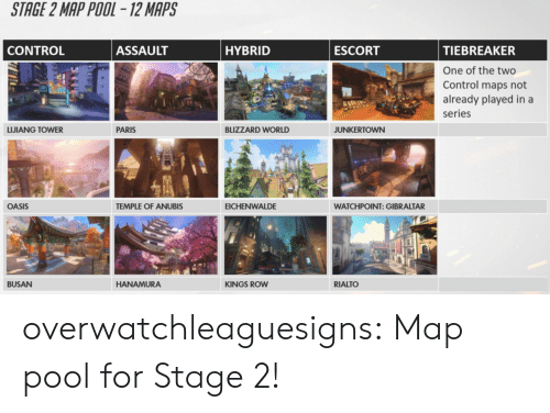 Tumblr, Blog, and Pool: overwatchleaguesigns:  Map pool for Stage 2!