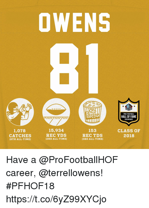 Football, Memes, and Time: OWENS  ALL FRME  PRO FOOTBALL  HALL OF FAME  ENSHRINE  OPCORY  15,934  REC YDS  (2ND ALL-TIME)  153  1,078  CATCHES  (8TH ALL-TIME)  REC TDS  (3RD ALL-TIME)  CLASS OF  2018 Have a @ProFootballHOF career, @terrellowens! #PFHOF18 https://t.co/6yZ99XYCjo