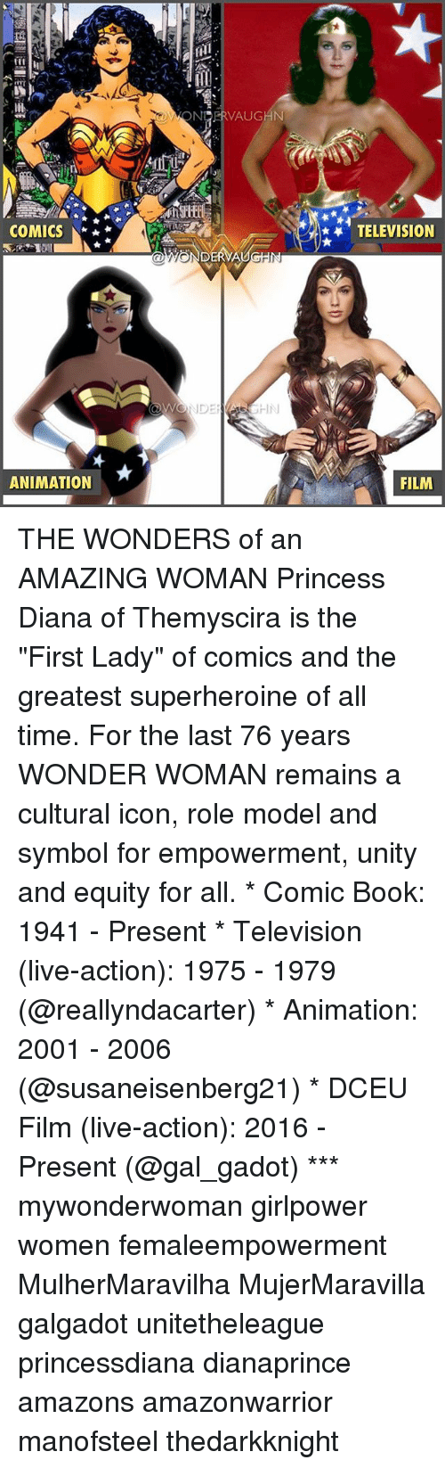 "equity: OWONERVAUGHN  COMICS  TELEVISION  ANIMATION  FILM THE WONDERS of an AMAZING WOMAN Princess Diana of Themyscira is the ""First Lady"" of comics and the greatest superheroine of all time. For the last 76 years WONDER WOMAN remains a cultural icon, role model and symbol for empowerment, unity and equity for all. * Comic Book: 1941 - Present * Television (live-action): 1975 - 1979 (@reallyndacarter) * Animation: 2001 - 2006 (@susaneisenberg21) * DCEU Film (live-action): 2016 - Present (@gal_gadot) *** mywonderwoman girlpower women femaleempowerment MulherMaravilha MujerMaravilla galgadot unitetheleague princessdiana dianaprince amazons amazonwarrior manofsteel thedarkknight"