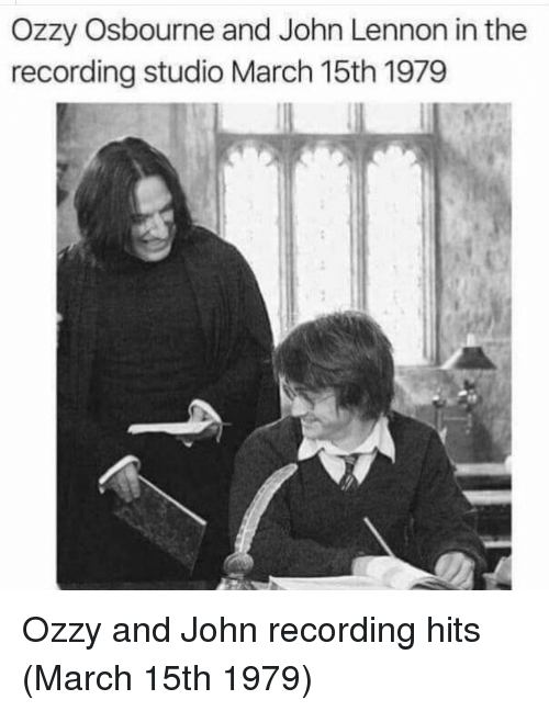 ozzy: Ozzy Osbourne and John Lennon in the  recording studio March 15th 1979 Ozzy and John recording hits (March 15th 1979)