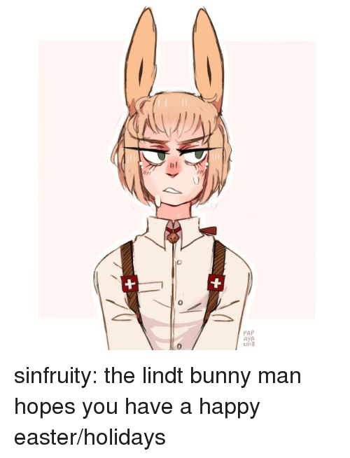 Easter, Target, and Tumblr: P A8  Ayo  0  0 sinfruity:  the lindt bunny man hopes you have a happy easter/holidays ♡