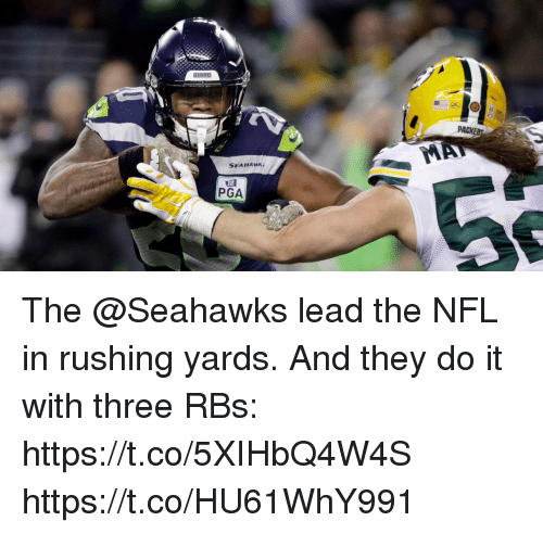 Memes, Nfl, and Seahawks: PACK  SEAHAWK;  PGA The @Seahawks lead the NFL in rushing yards.  And they do it with three RBs: https://t.co/5XIHbQ4W4S https://t.co/HU61WhY991