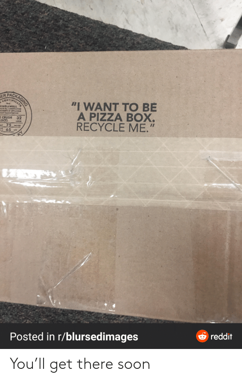 "want: PACKAGING  ER  CERTIFICAT  ""I WANT TO BE  A PIZZA BOX.  RECYCLE ME.""  THIS  SINGLEWALL  EETS ALL CONSTRUCTION  REMEITS OF APPLICABLE  EIGHT CLASSIFICATION  E CRUSH 32  (ECT)  Mt 75 MCHES  65 us  LOSAN  OSS  ELT  O reddit  Posted in r/blursedimages You'll get there soon"
