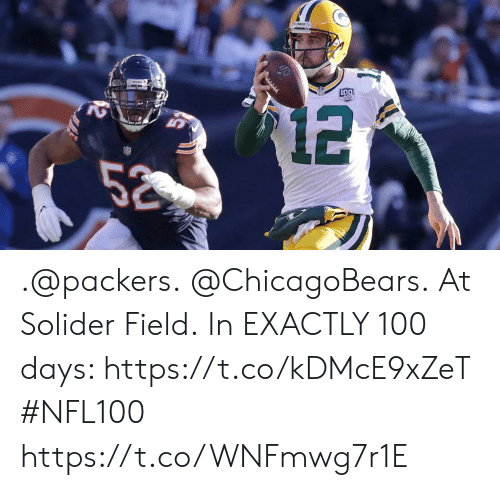 Memes, Packers, and 🤖: .@packers. @ChicagoBears. At Solider Field.  In EXACTLY 100 days: https://t.co/kDMcE9xZeT #NFL100 https://t.co/WNFmwg7r1E