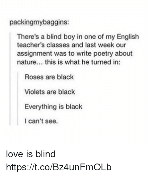Love, Memes, and Black: packingmybaggins:  There's a blind boy in one of my English  teacher's classes and last week our  assignment was to write poetry about  nature... this is what he turned in:  Roses are black  Violets are black  Everything is black  I can't see. love is blind https://t.co/Bz4unFmOLb