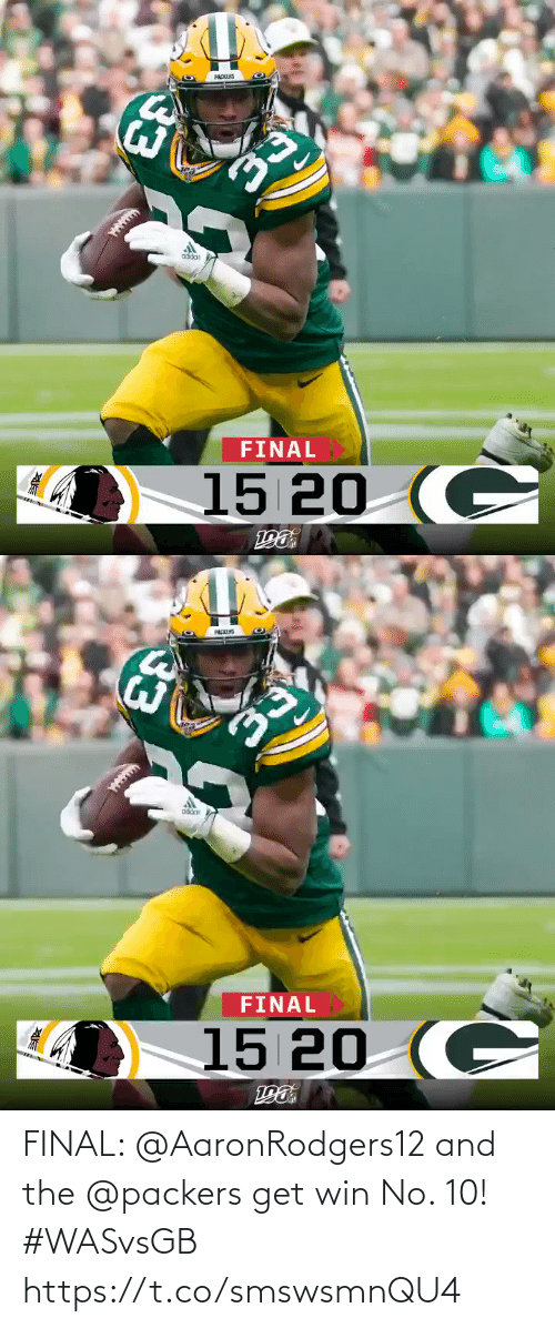 Memes, Packers, and 🤖: PACKLIS  oddat  FINAL  15 20 (C  33   PACKIS  FINAL  15 20 (C  33 FINAL: @AaronRodgers12 and the @packers get win No. 10! #WASvsGB https://t.co/smswsmnQU4