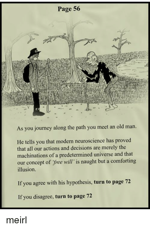 Journey, Old Man, and Free: Page 56  cfa  As you journey along the path you meet an old man.  He tells you that modern neuroscience has proved  that all our actions and decisions are merely the  machinations of a predetermined universe and that  our concept of free will' is naught but a comforting  illusion.  If you agree with his hypothesis, turn to page 72  If you disagree, turn to page 72 meirl
