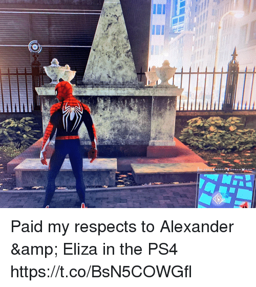Memes, Ps4, and 🤖: Paid my respects to Alexander & Eliza in the PS4 https://t.co/BsN5COWGfl