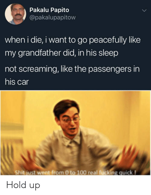0 to 100, Fucking, and Shit: Pakalu Papito  @pakalupapitow  when i die, i want to go peacefully like  my grandfather did, in his sleep  not screaming, like the passengers in  his car  Shit just went from 0 to 100 real fucking quick! Hold up