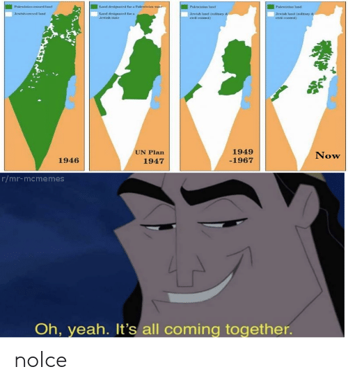 Yeah, Control, and Jewish: Palestinias land  Palestinian land  Palestinian-owned land  Lad designated Sor a Palestinian state  Land designated for a  Jewishowned land  Jewish land Oitary  civil control)  Araish land (ditary  Jewish sate  cvil eontrol)  1949  UN Plan  Now  1946  -1967  1947  r/mr-mcmemes  Oh, yeah. It's all coming together. noIce