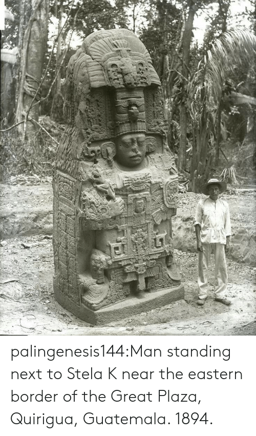 Tumblr, Blog, and Com: palingenesis144:Man standing next to Stela K near the eastern border of the Great Plaza, Quirigua, Guatemala. 1894.