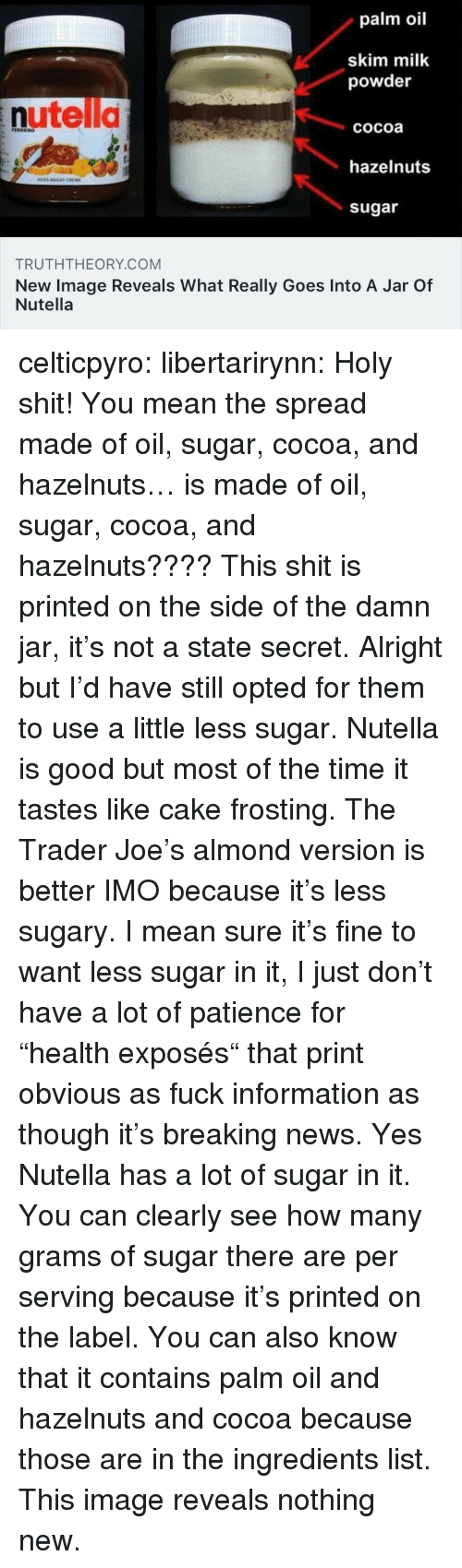 """News, Shit, and Tumblr: palm oil  skim milk  powder  nutella  cocoa  hazelnuts  sugar  TRUTHTHEORY.COM  New Image Reveals What Really Goes Into A Jar Of  Nutella celticpyro:  libertarirynn: Holy shit! You mean the spread made of oil, sugar, cocoa, and hazelnuts… is made of oil, sugar, cocoa, and hazelnuts????  This shit is printed on the side of the damn jar, it's not a state secret.  Alright but I'd have still opted for them to use a little less sugar. Nutella is good but most of the time it tastes like cake frosting. The Trader Joe's almond version is better IMO because it's less sugary.  I mean sure it's fine to want less sugar in it, I just don't have a lot of patience for """"health exposés"""" that print obvious as fuck information as though it's breaking news. Yes Nutella has a lot of sugar in it. You can clearly see how many grams of sugar there are per serving because it's printed on the label. You can also know that it contains palm oil and hazelnuts and cocoa because those are in the ingredients list. This image reveals nothing new."""